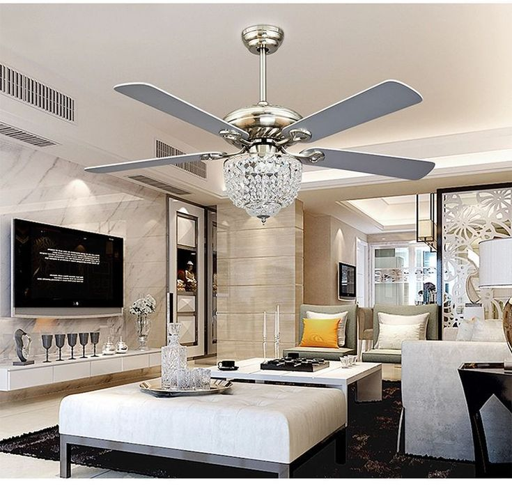 crystal ceiling fan chandelier with four blades for living room