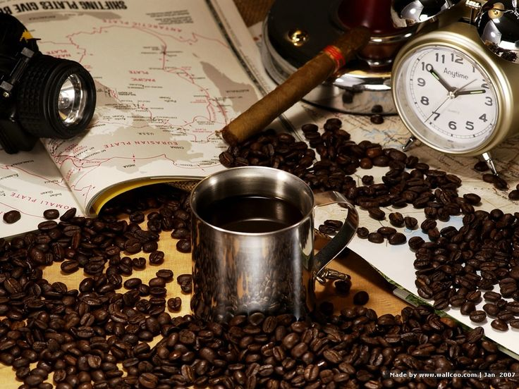 Coffee Time : Still Life of Coffee and Coffee Beans  1024*768 NO.18 Wallpaper