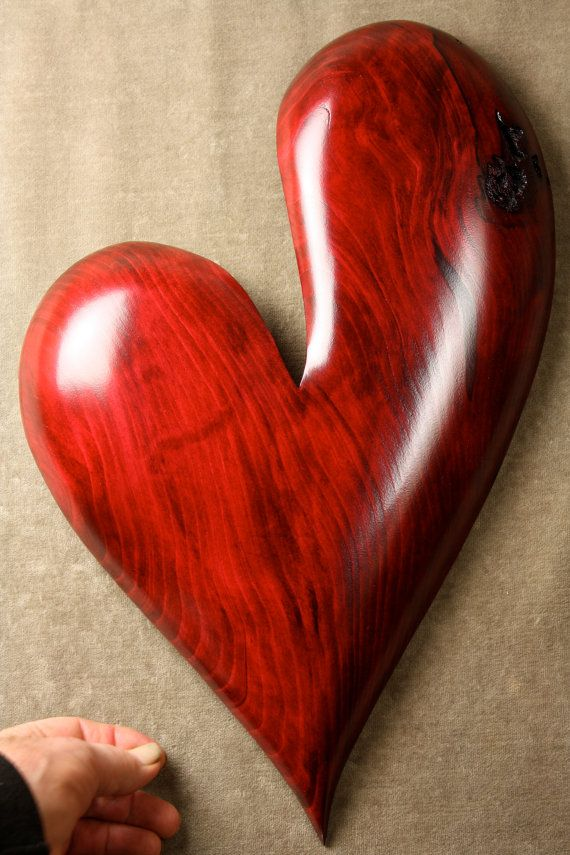 A red ooak personalized Heart wood carving by TreeWizWoodCarvings