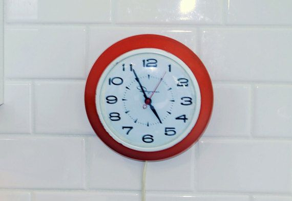 Orange Wall Clock Electric Wall Clock Orange by ClockworkRummage