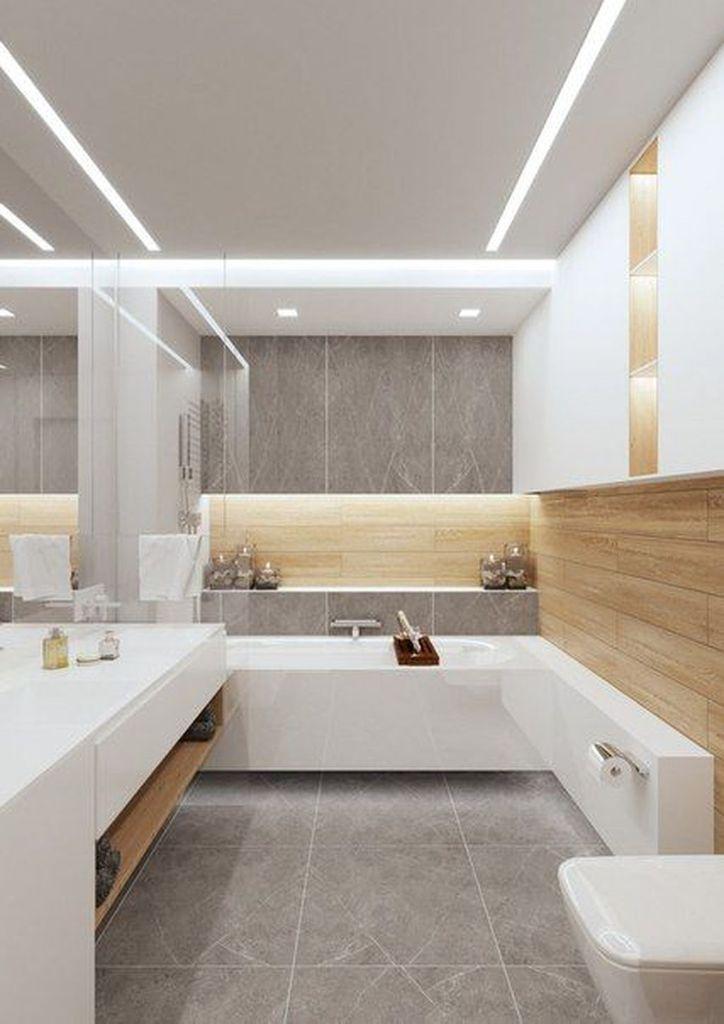 40 Tipps für ein Upgrade von Small Bathroom Decor mit Holzablage