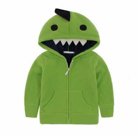子供たちはジップスウェットシャツフリーススタイルのためのコスプレ緑の恐竜パーカー