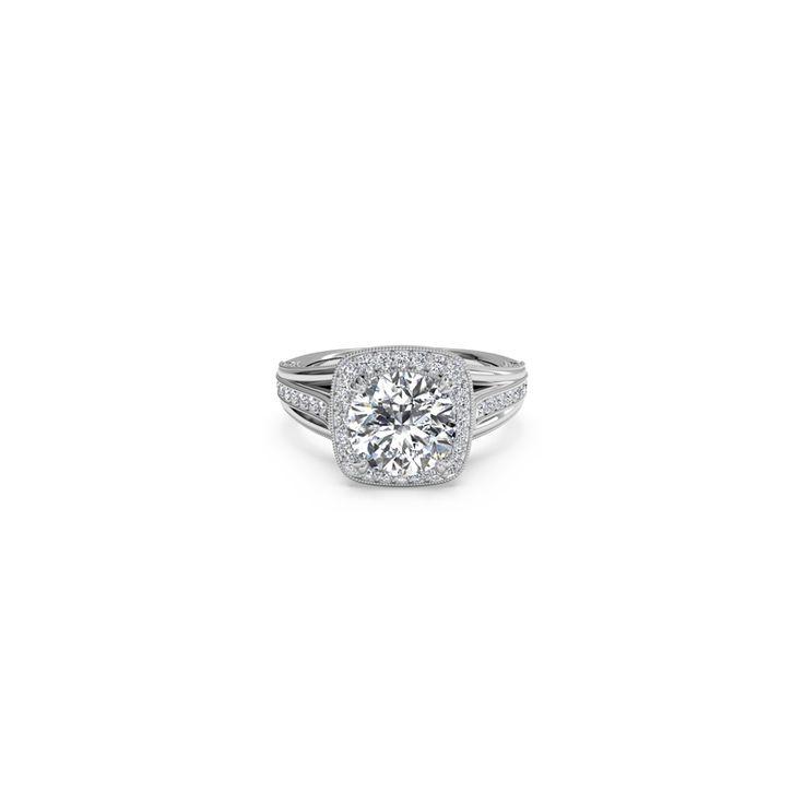 Ritani Masterwork Cushion Halo Vaulted Milgrain Diamond Round Cut Mounting with Surprise Diamonds - Fink's Jewelers