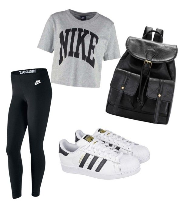 My First Polyvore Outfit by lidiasalazar on Polyvore featuring polyvore fashion style NIKE adidas clothing