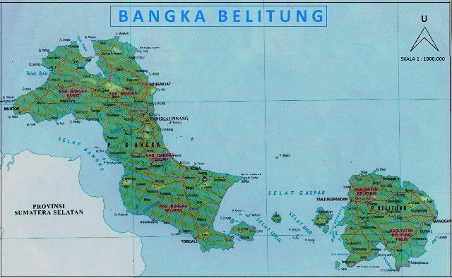 Peta Provinsi Kepulauan Bangka Belitung