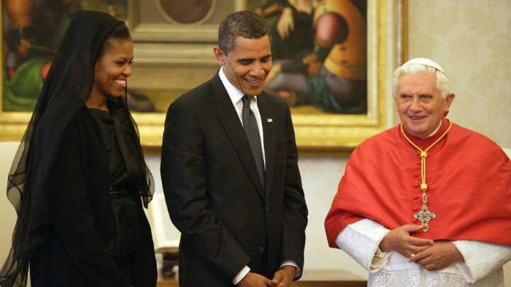 President Barack Obama With 1st Lady Michelle Obama & The Pope....