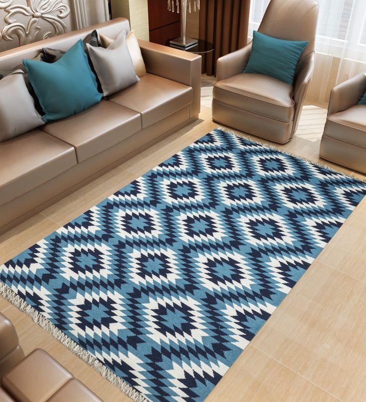 Buy Imperial Knots Yildiz Star Blue Wool Hand Woven Turkish Kilim Carpet Online Shop