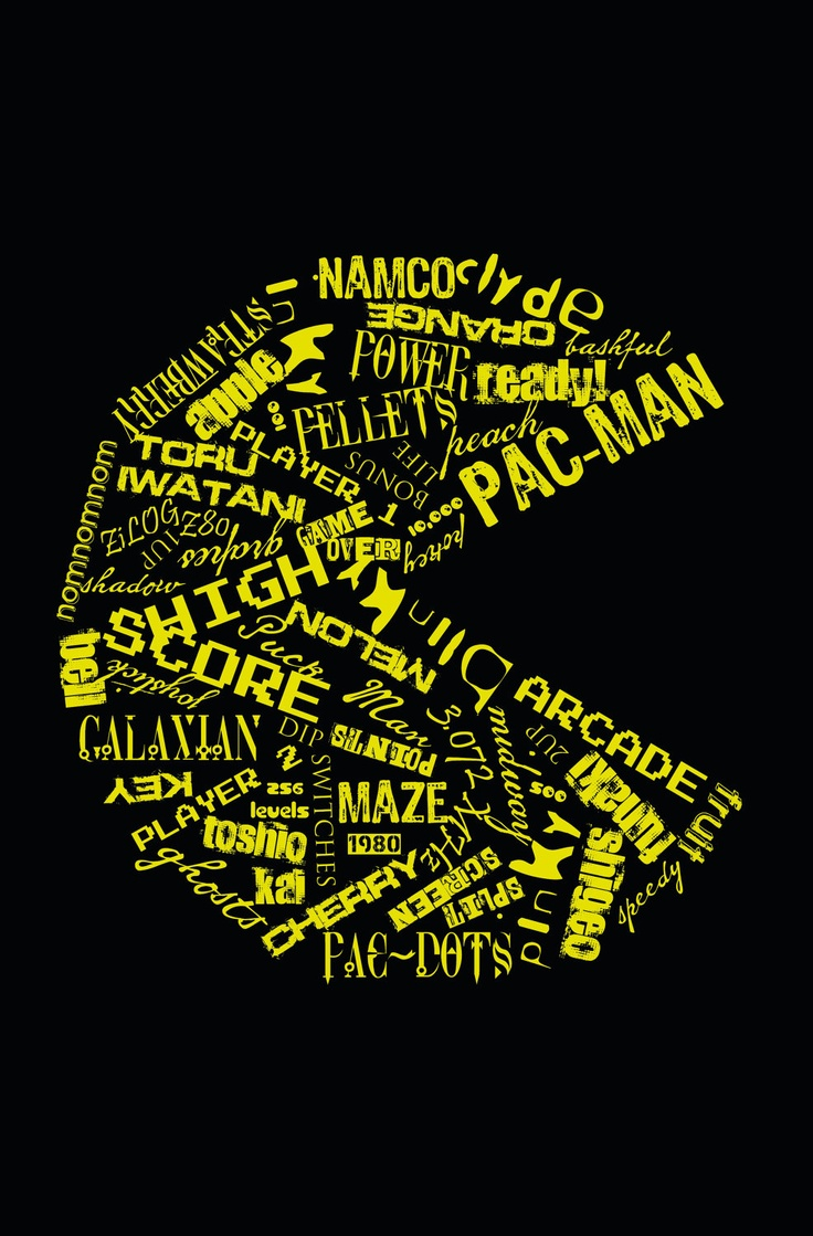 Pac Man Typography Poster