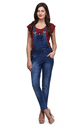 Ganga Women's Denim Dungaree (DBLU160_Blue_26): Amazon.in: Clothing & Accessories