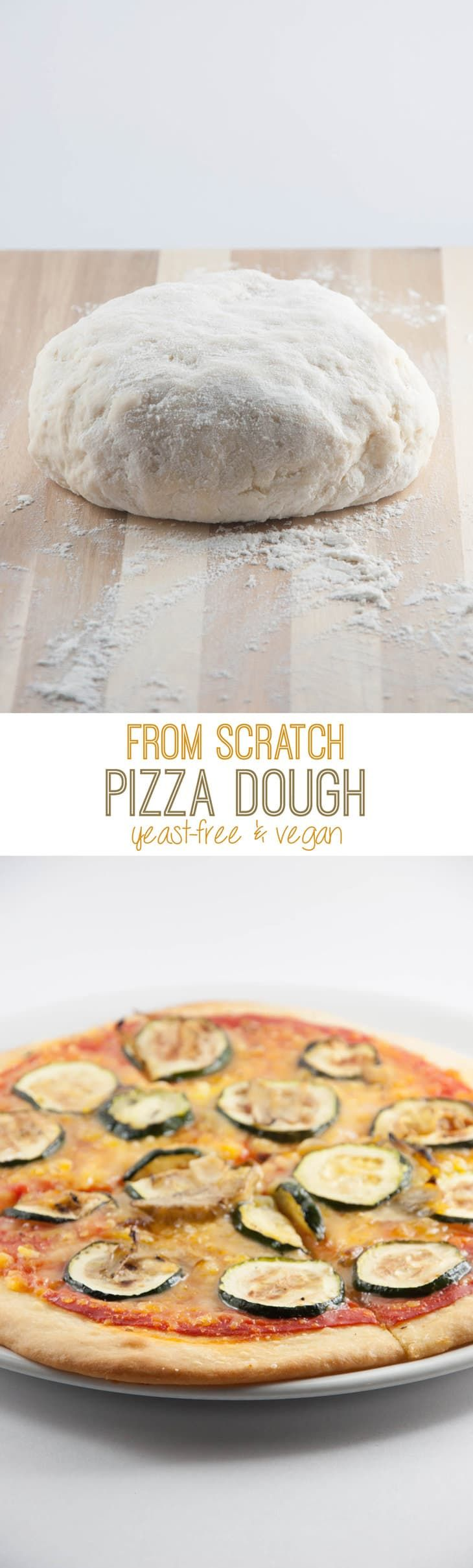 Recipe for a yeast-free vegan Pizza Dough from scratch ( + topping ideas... ) made out of only 5 ingredients! No yeast = no wait time = spontaneous pizza!