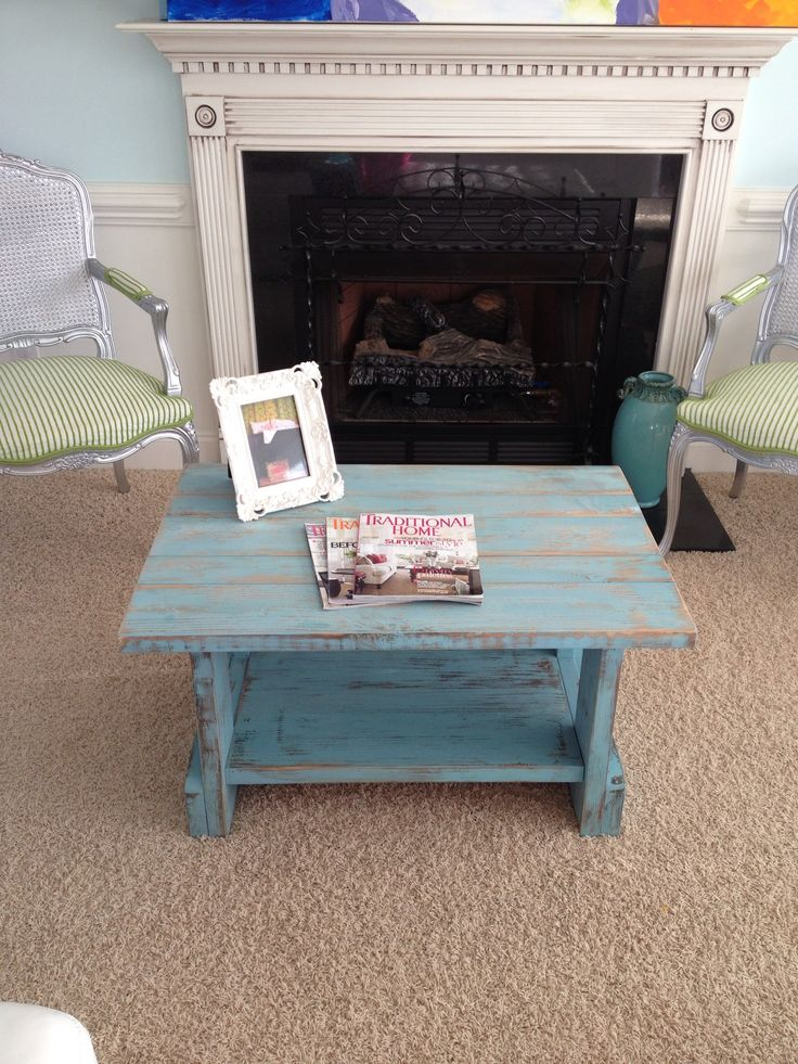 Turquoise Distressed Coffee Table For Sale 150