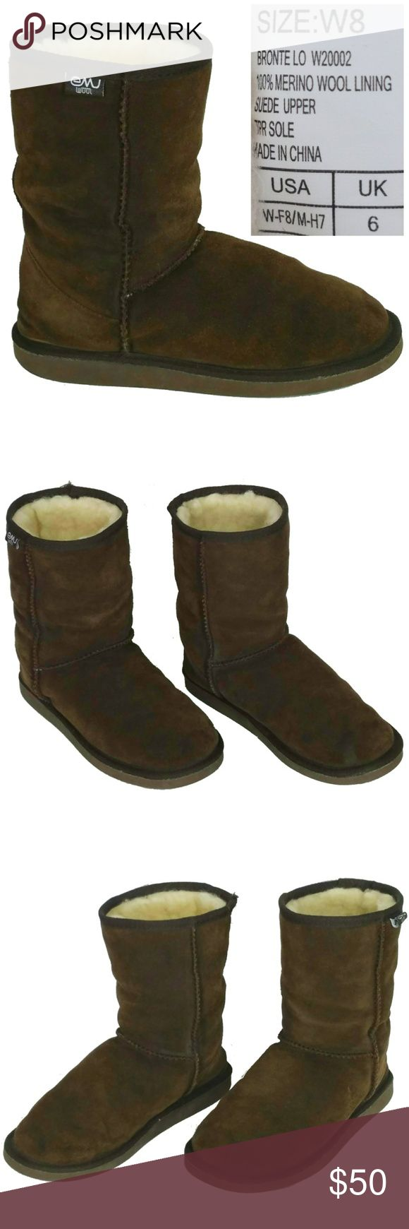 EMU Wool Suede Ankle Boots Size 8W EMU Australia Bronte Lo Women Wool Suede Ankle Boots Size 8W Wide Brown Slip On  Overall Excellent Condition. Needs a suede cleaning Emu Shoes Ankle Boots & Booties
