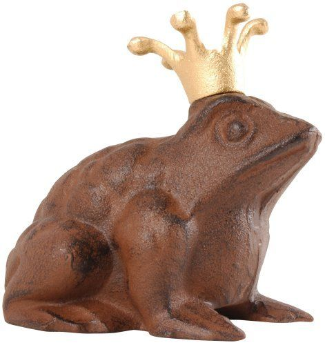 Esschert Design Frog Prince statue - small by Esschert Design. $15.99. Small prince frog statue. Made for cast iron. Fun design and wears a regal golden crown. Great accent piece. Easy to clean. Every garden should have at least one frog, and who best to represent your garden than the frog prince himself?  This petite cast iron statue wears a regal golden crown.  He will delight all who gaze upon your garden for years to come.