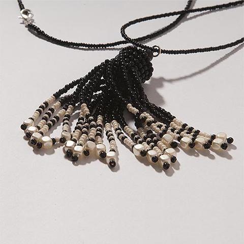 Handmade Pearl Black Shimmering Tassel Necklace - Anthos Crafts - 1