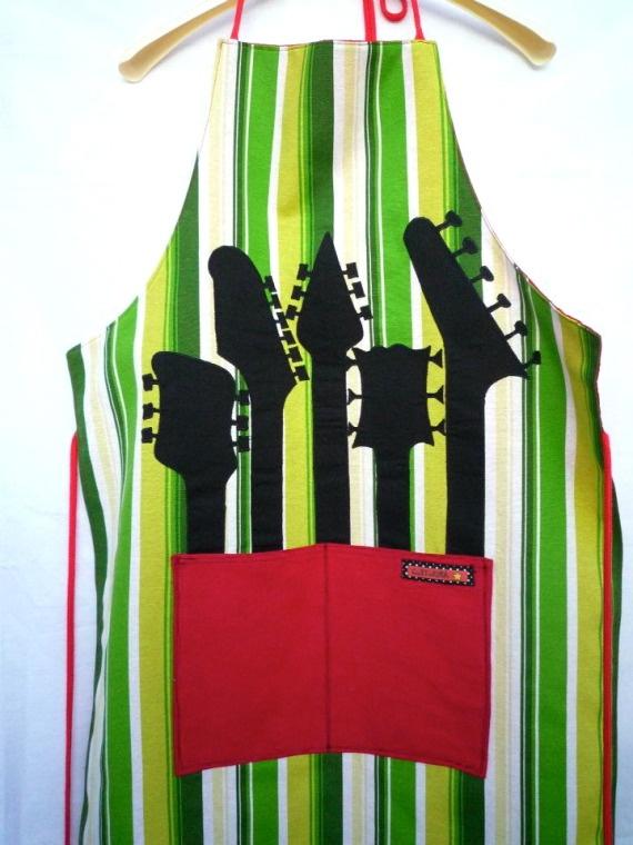 - Music Apron with Guitar Necks handmade by Artesanio - #music #kitchen #apron #guitar #musickitchen http://www.pinterest.com/TheHitman14/music-kitchen-%2B/