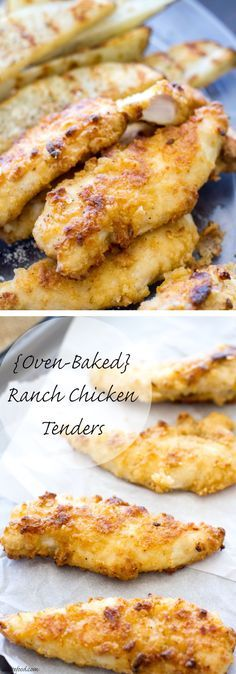 These chicken tenders are baked not fried, and marinated with ranch dressing! They're a total crowd pleaser. | www.alattefood.com (Paleo Chicken Tenders)