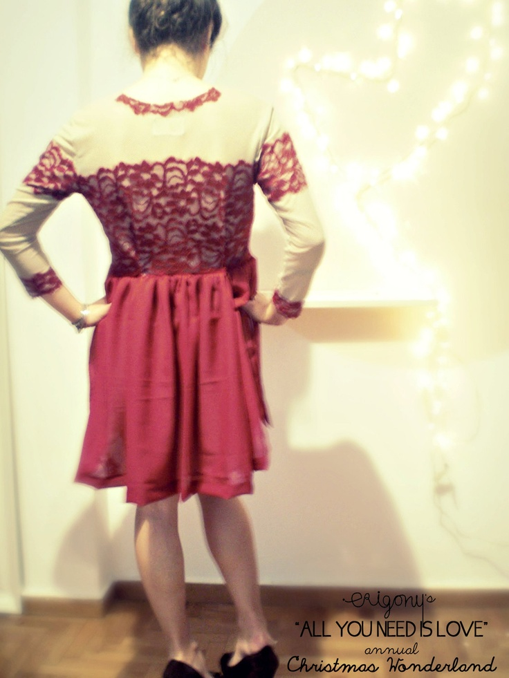 all you need is Love// crimson Lace dress