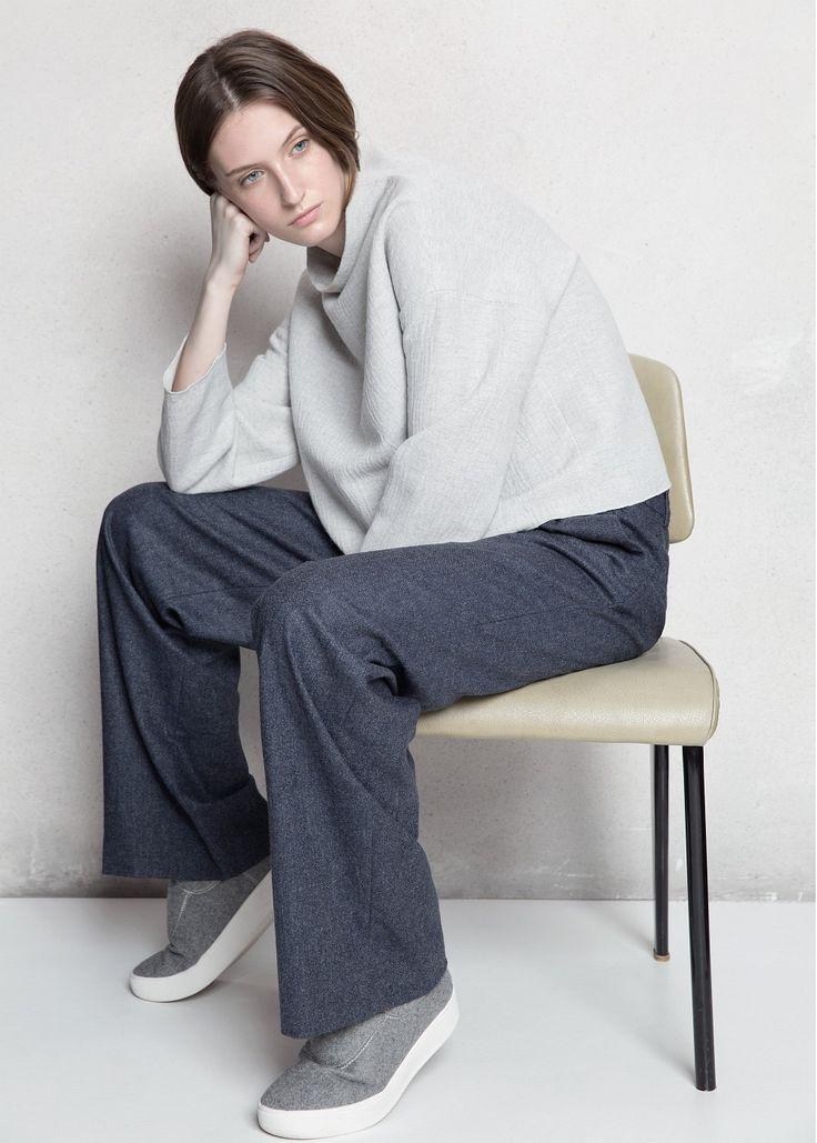 PREMIUM - Palazzo wool-blend trousers