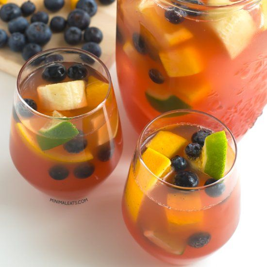 Sangria is a typical Spanish drink made with wine, fruits and some sweetener. It's made with grape juice and fruits and it's alcohol-free.