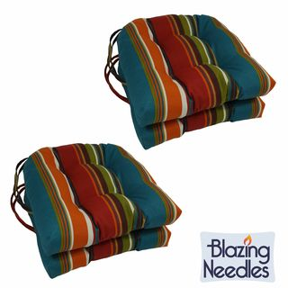 Blazing Needles 16-inch U-shaped Tufted Outdoor Chair Cushions (Set of 4)
