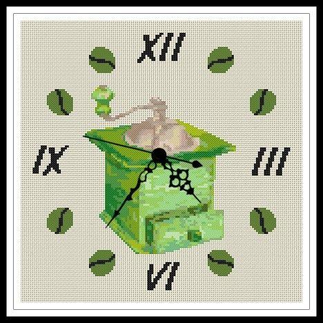 """Gráfico para punto de cruz de un """"Reloj Molinillo"""" de tonos verdes."""