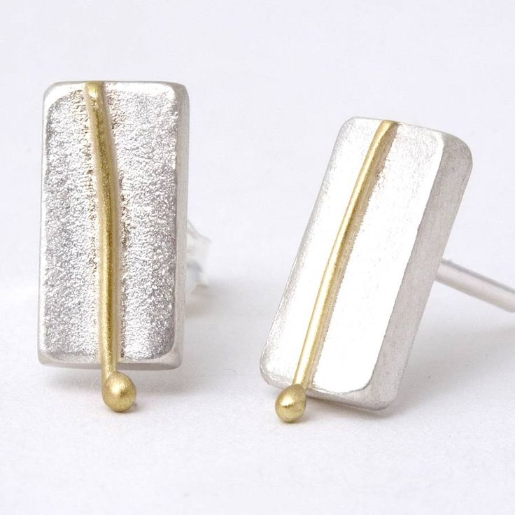 small rectangular studs with 18ct line detail by tlk   notonthehighstreet.com