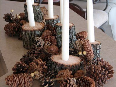 Could be cool for an outdoor fall wedding....maybe add some color and less  pine cones!