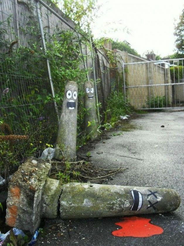 street art sur un poteau