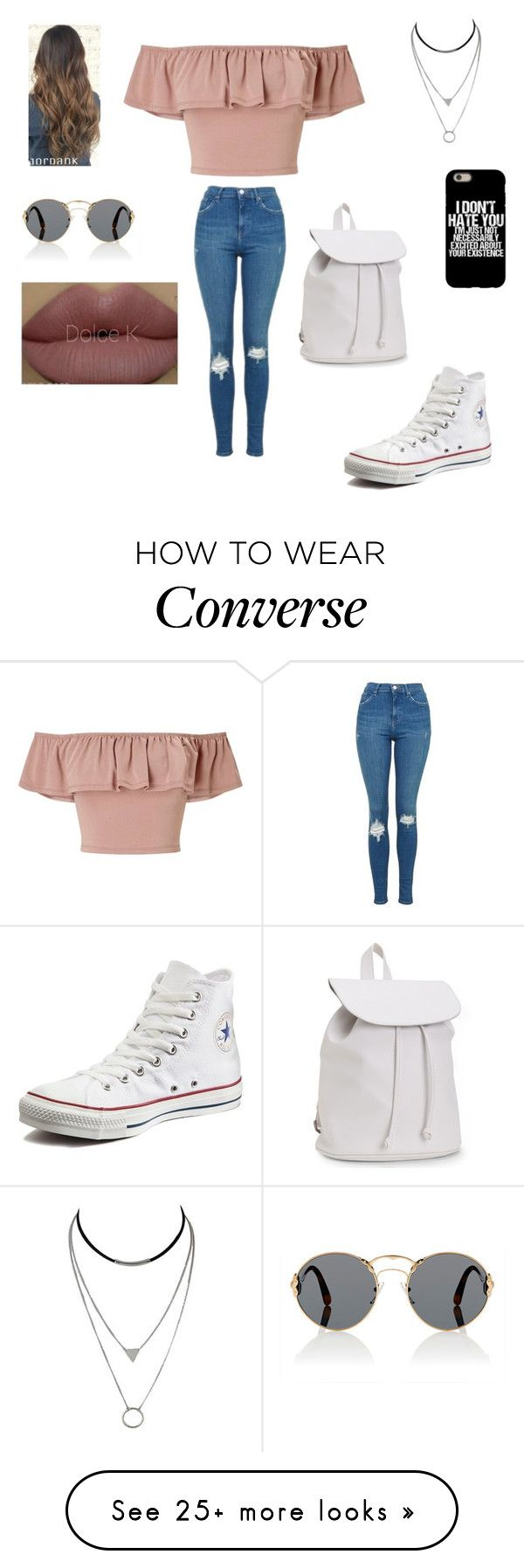 """Senza titolo #1083"" by charlottehora on Polyvore featuring Miss Selfridge, Topshop, Converse, Aéropostale, Prada and Kylie Cosmetics"