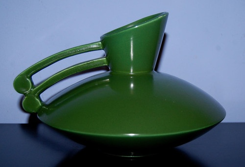 Vintage Red Wing Pottery Dark Green Art Deco 1580 Pitcher
