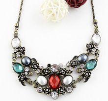 Colar vintage etnische sieraden, maxi ketting elegante antieke brons kleurrijke…