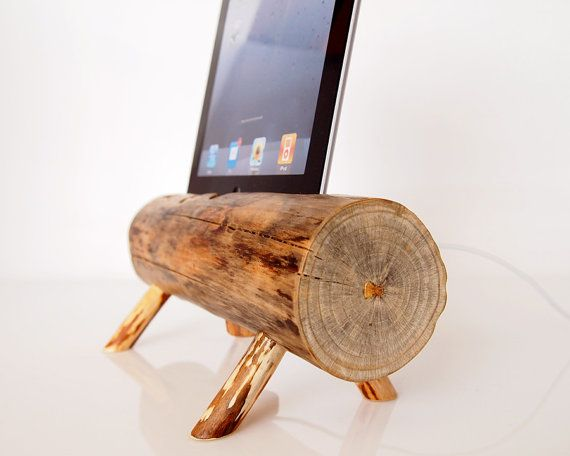 Dock for iPad tablets from pine log - home decor - office desk ...