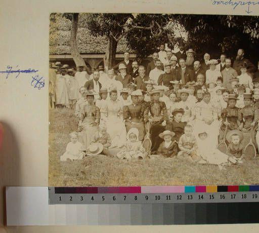 Queen Ranavalona III with guests at Mahazoarivo, Antananarivo, Madagascar, 1895 :: International Mission Photography Archive, ca.1860-ca.196...