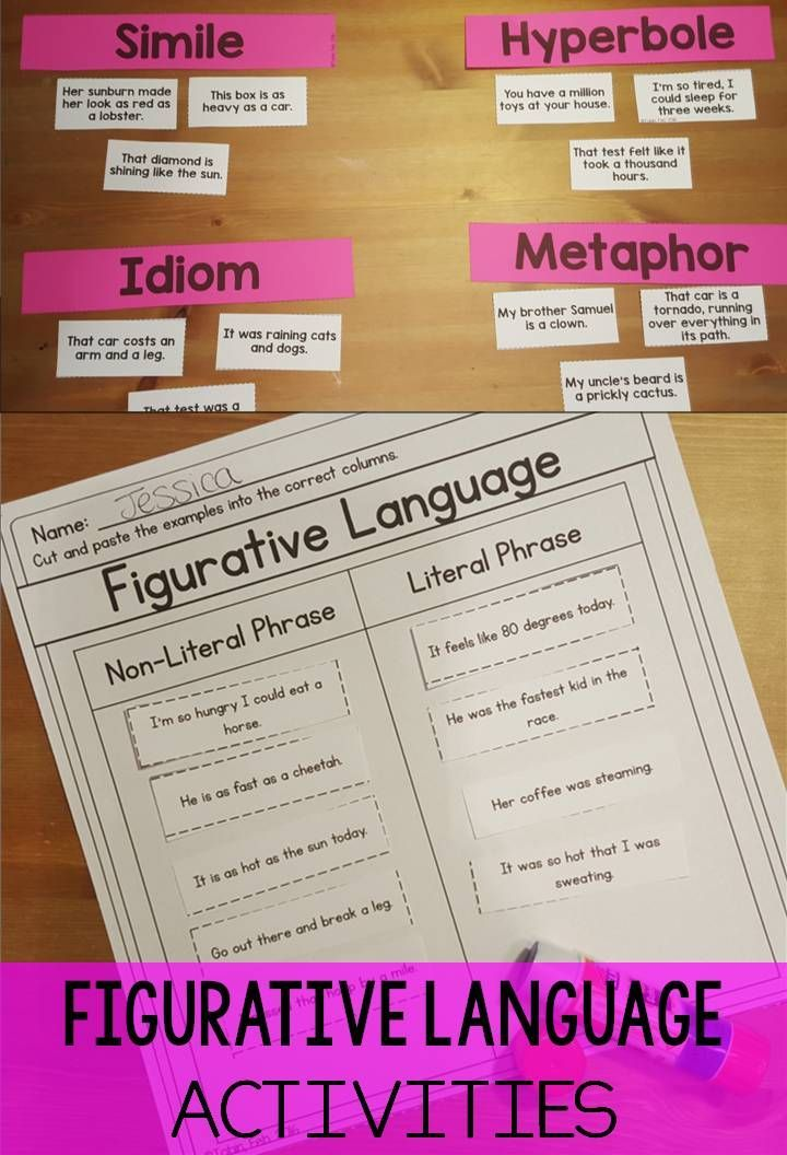 Figurative language review worksheet 3rd grade