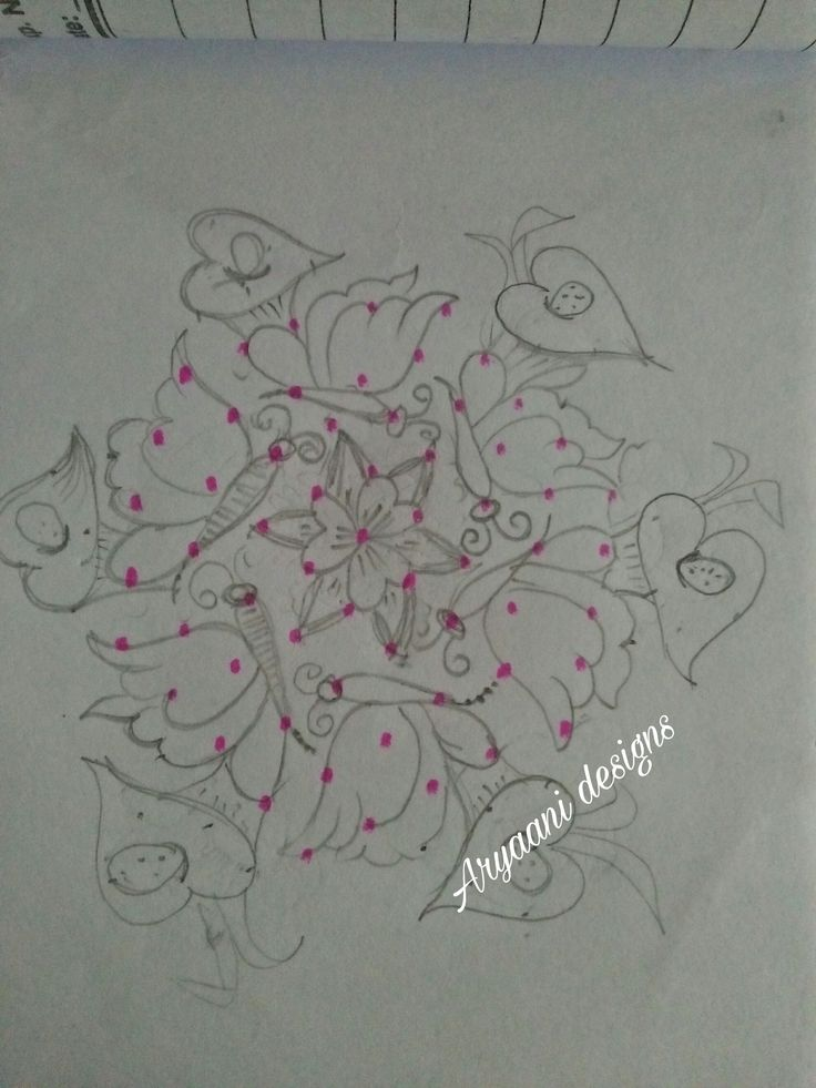 Dotted version of butterflies rangoli....