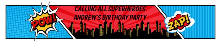 Calling All Superheroes - Personalized Birthday Party  Banners - ZAP! POW! Birthday banner!!