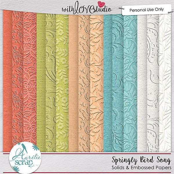 """Embossed & Solids Papers """"Springly Bird Song """" by Aurélie Scrap. It contains : 10 embossed papers & 5 solids papers"""