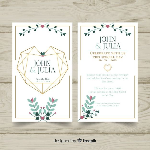 Download Geometric Heart Wedding Invitation Template For Free