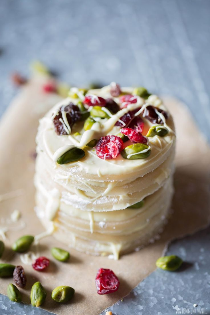 marzipan, pistachio, dried cranberries and white chocolate - photo only
