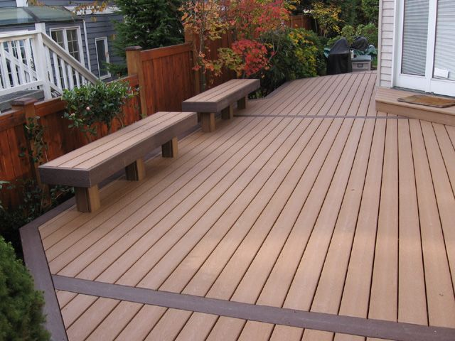 Decking benches deck and yard ideas pinterest for Synthetic deck material