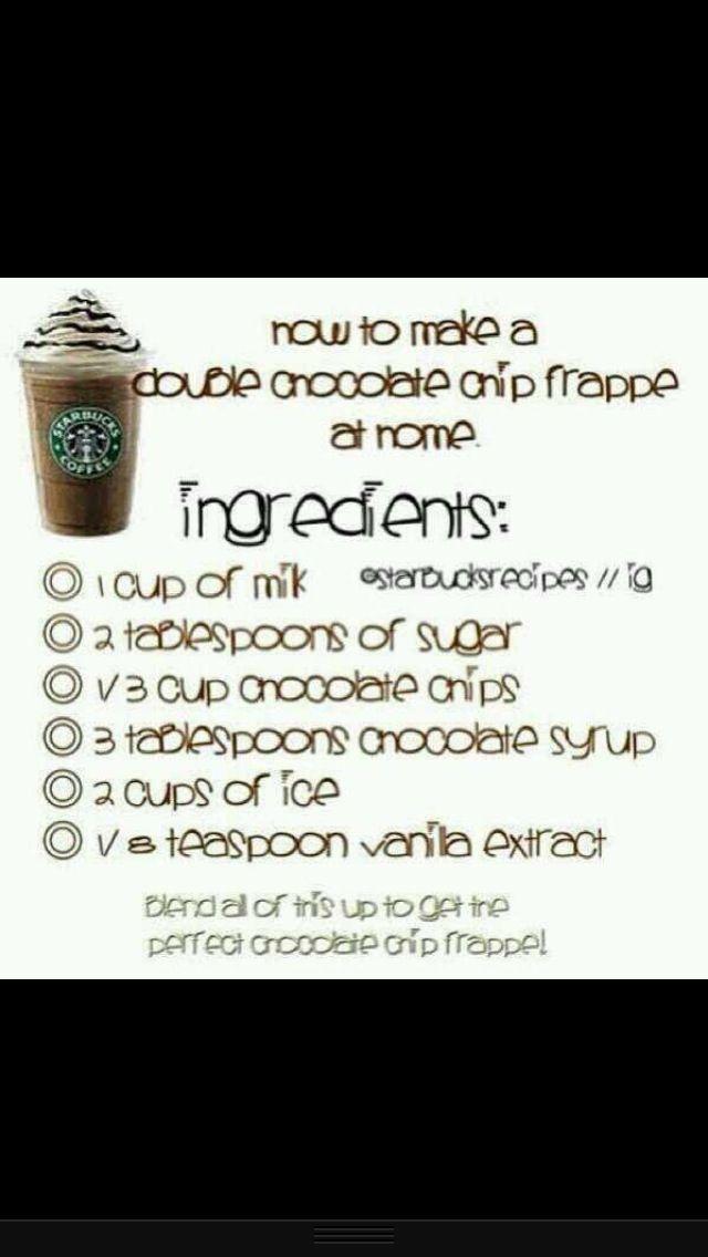 Homemade Starbucks chocolate chip frappe recipe!