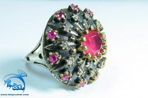 انگشتر طرح یاقوت سرخ پر گل عثماني