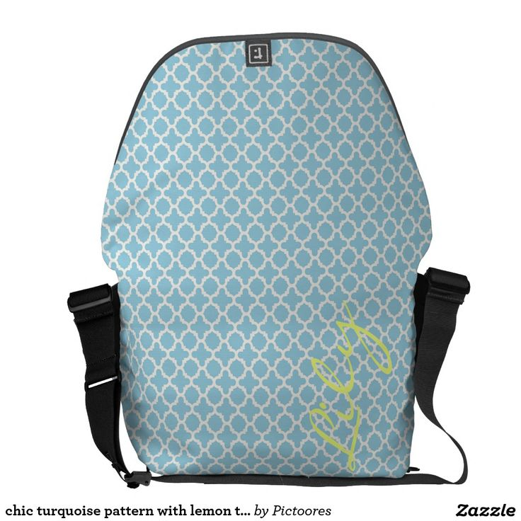 chic turquoise pattern with lemon text commuter bags