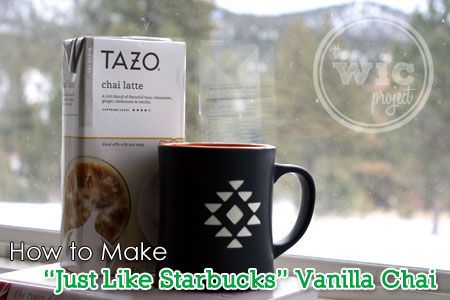 An easy #recipe for how to make Starbucks Vanilla Chai Tea Latte at home. Save time & money!  Read the full post at: http://www.wicproject.com/recipe/how-to-make-starbucks-vanilla-chai-tea-latte/