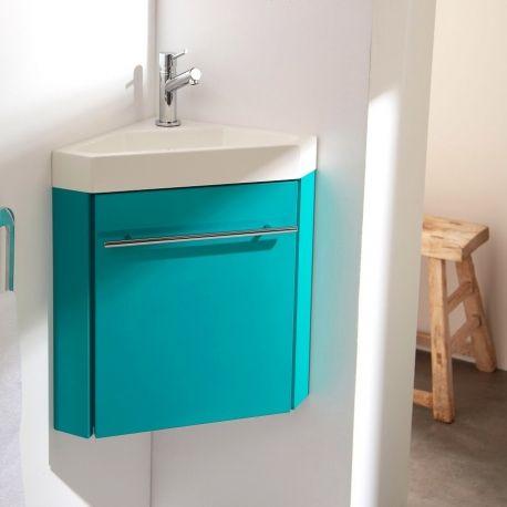 Equipez vos toilettes d'un meuble lave mains d'angle chlorophylle. L'ensemble est livré avec bonde, siphon et robinet que demander de plus !