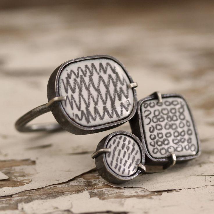 Silver, enamel, graphite ring