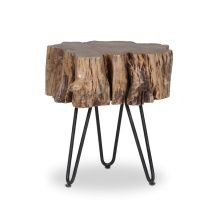 Mack Acacia Wood & Iron Side Table