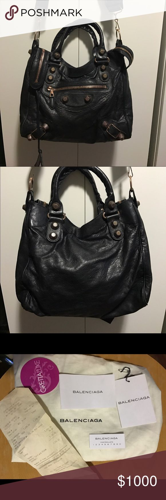 AUTH BALENCIAGA GIANT VELO BLACK ROSE GOLD BAG Gorgeous authentic balenciaga giant velo cross body bag in black with rose gold hardware. Fantastic used condition with no issues to speak of! Comes with dust bag, cards, and receipt from grettaluxe boutique in Boston. $1800+tax new! Please let me know if you want any other photos plus authentication is free through Poshmark! 13.5x10.5x4. Balenciaga Bags Shoulder Bags