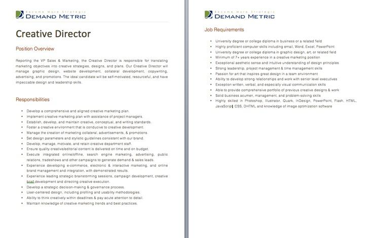 Creative Director Job Description A template to quickly document – Creative Director Job Description