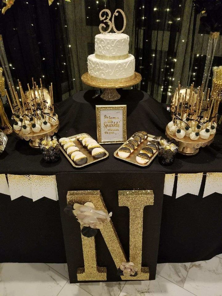 30th Gold And Black Themed 30th Birthday Party Gold Birthday Party Decorations 30th Birthday Parties Golden Birthday Parties